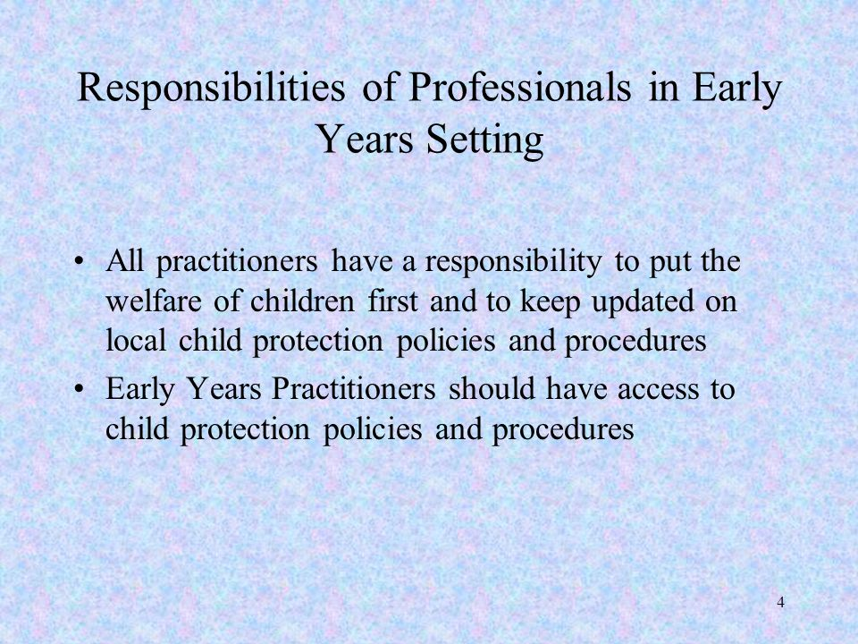 Responsibilities of Professionals in Early Years Setting