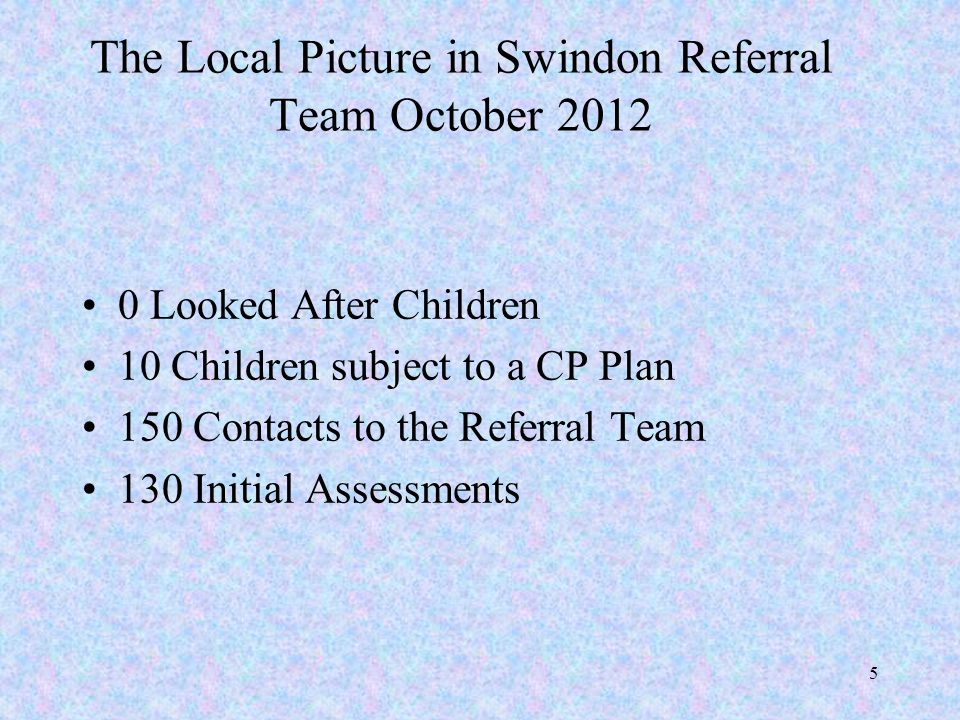 The Local Picture in Swindon Referral Team October 2012