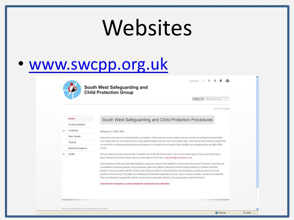 Websites www.swcpp.org.uk