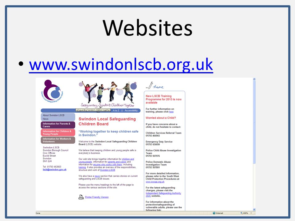 Websites www.swindonlscb.org.uk