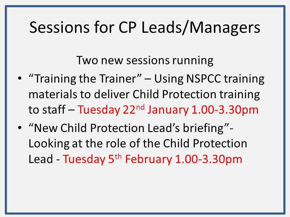 Sessions for CP Leads/Managers