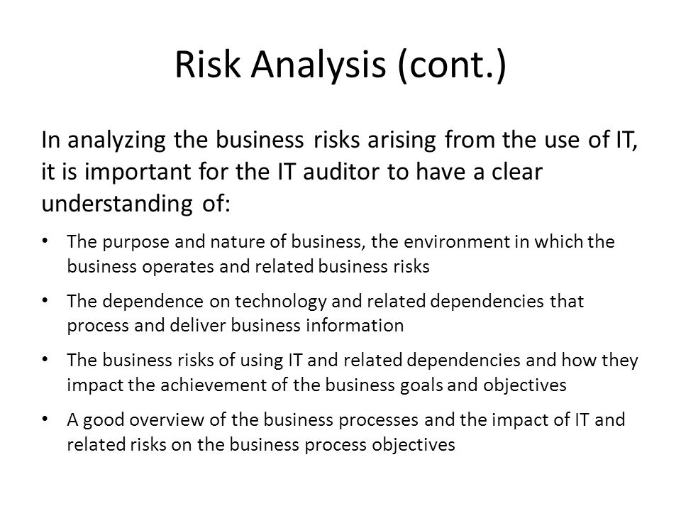 Risk Analysis (cont.)