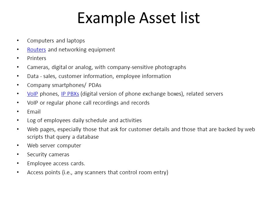 Example Asset list Computers and laptops