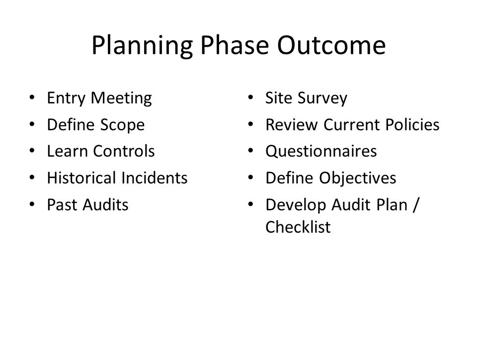 Planning Phase Outcome