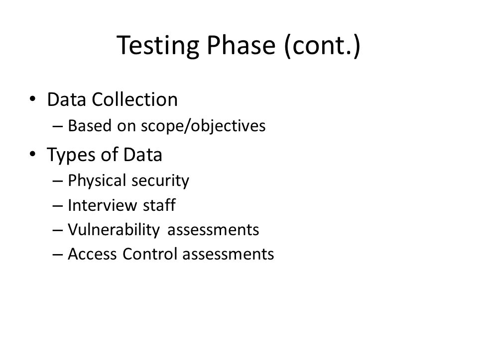 Testing Phase (cont.) Data Collection Types of Data