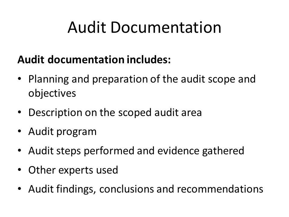 Audit Documentation Audit documentation includes: