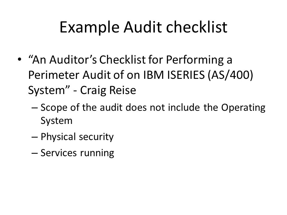 Example Audit checklist