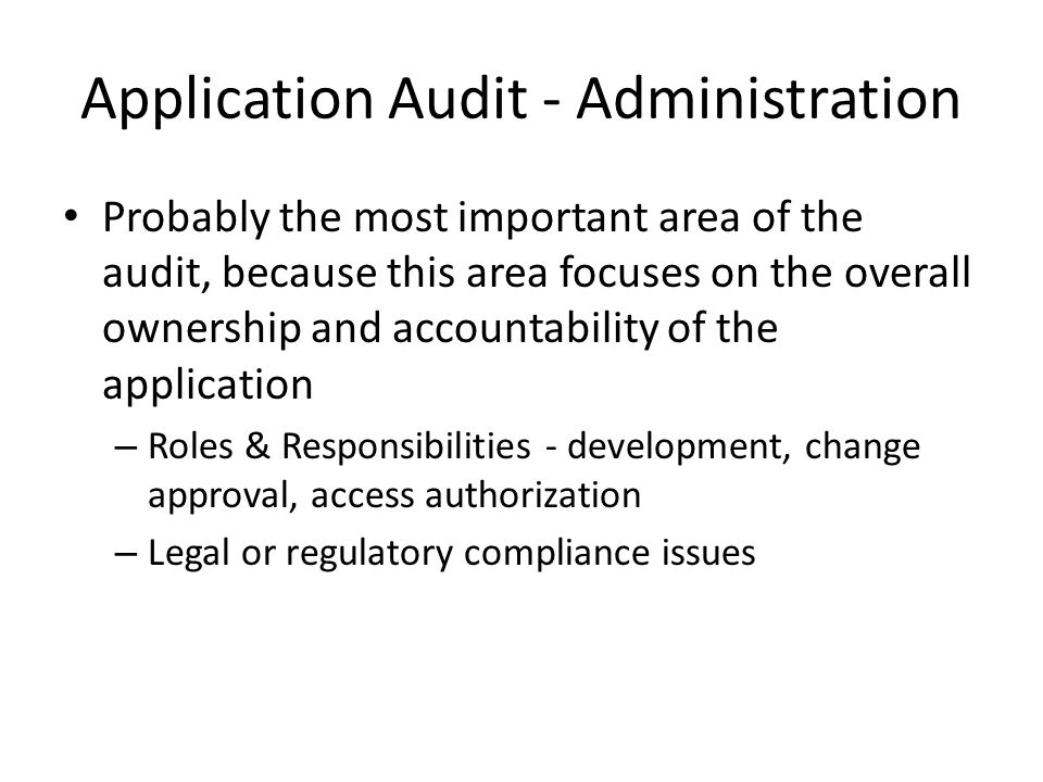Application Audit - Administration