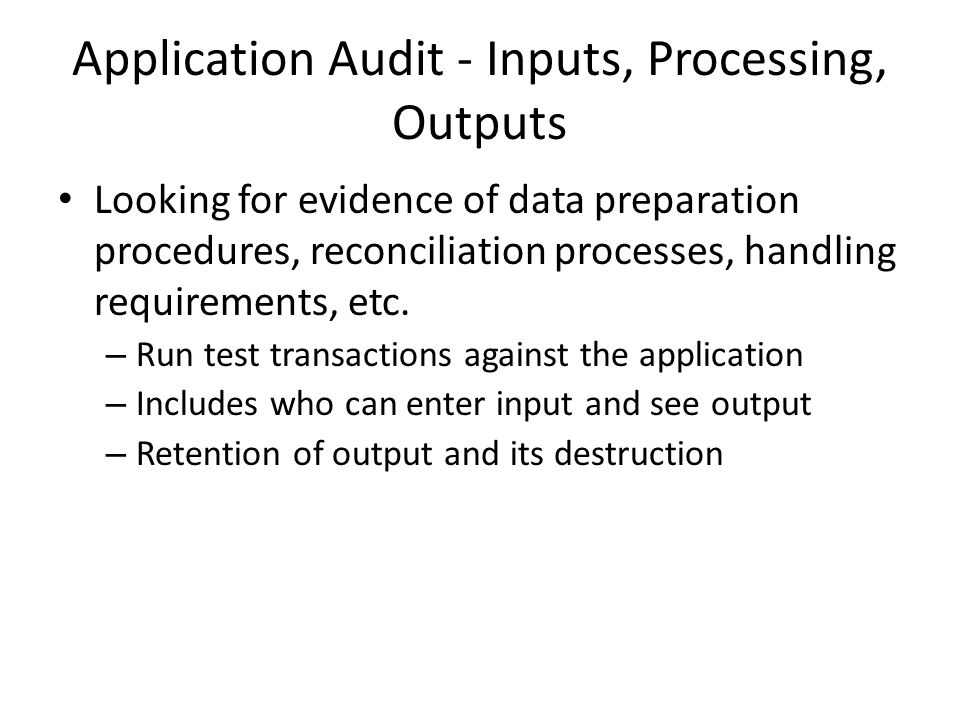Application Audit - Inputs, Processing, Outputs