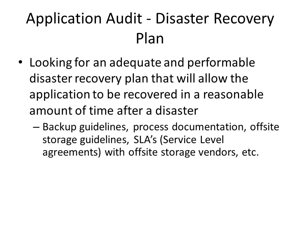 Application Audit - Disaster Recovery Plan