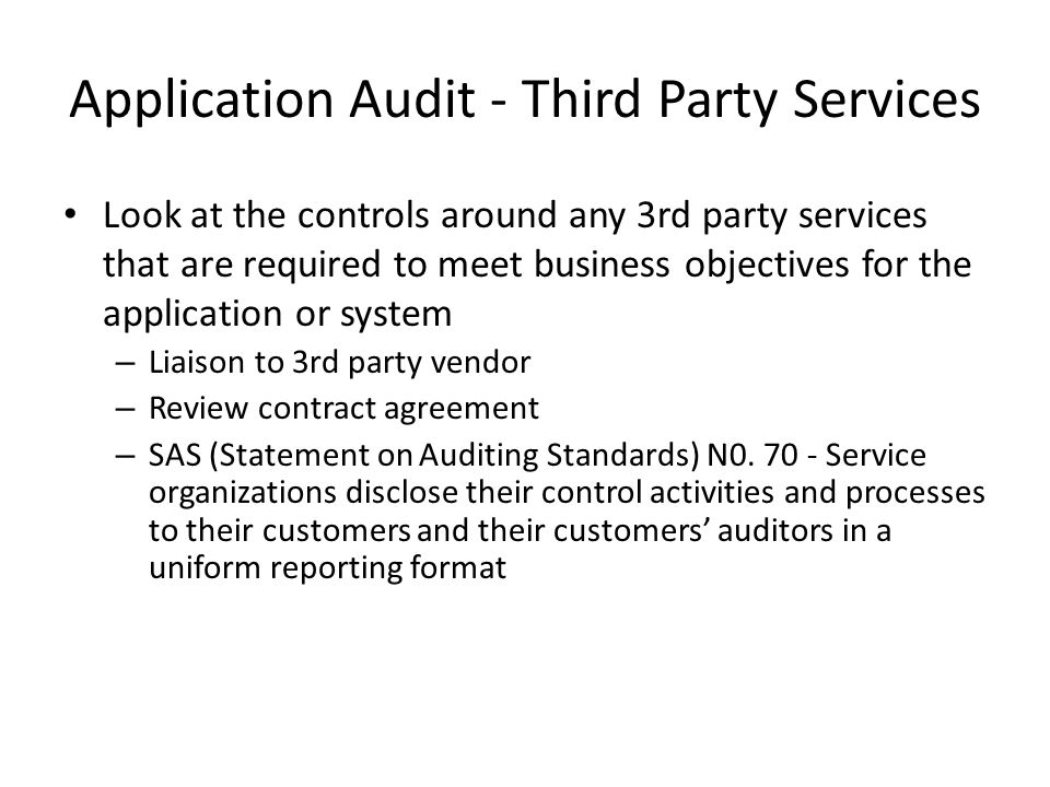 Application Audit - Third Party Services