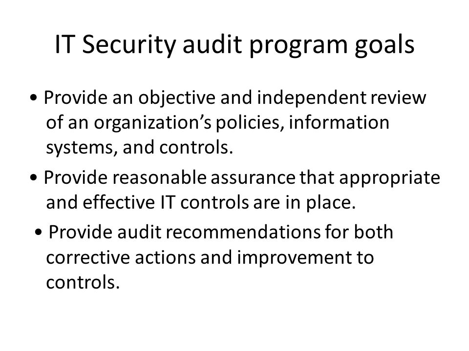 IT Security audit program goals