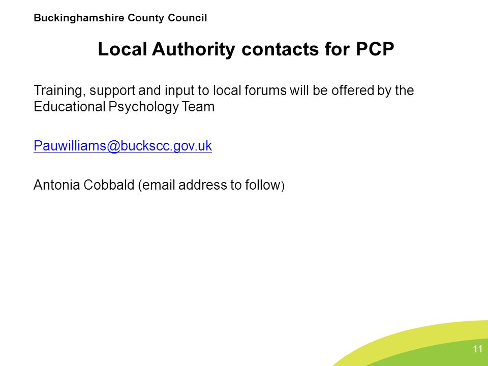 Local Authority contacts for PCP