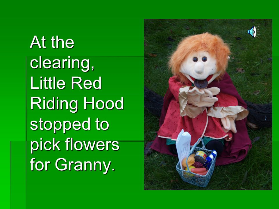 At the clearing, Little Red Riding Hood stopped to pick flowers for Granny.