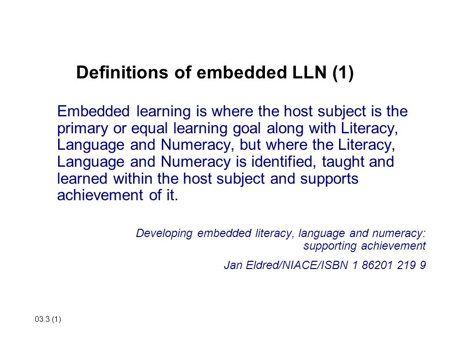 Definitions of embedded LLN (1)