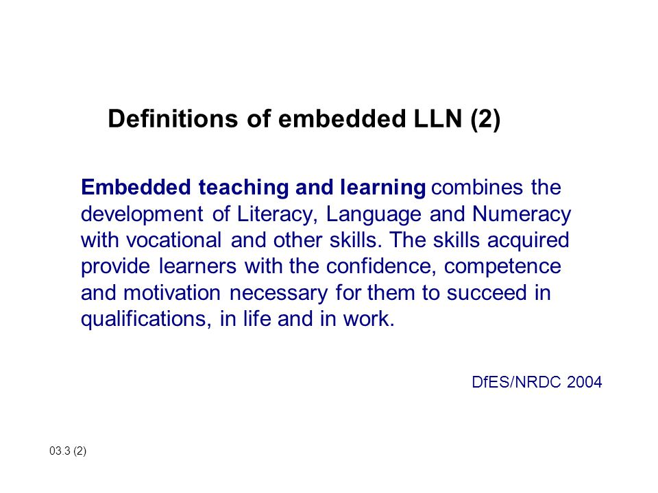 Definitions of embedded LLN (2)