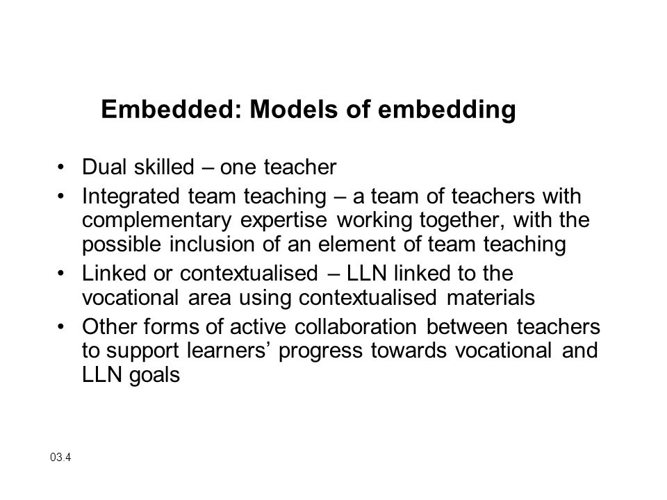 Embedded: Models of embedding