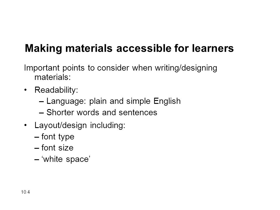Making materials accessible for learners
