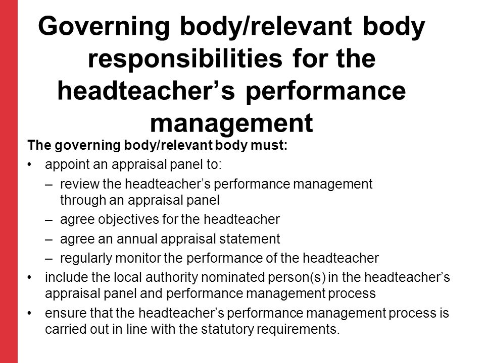 Governing body/relevant body responsibilities for the headteacher's performance management