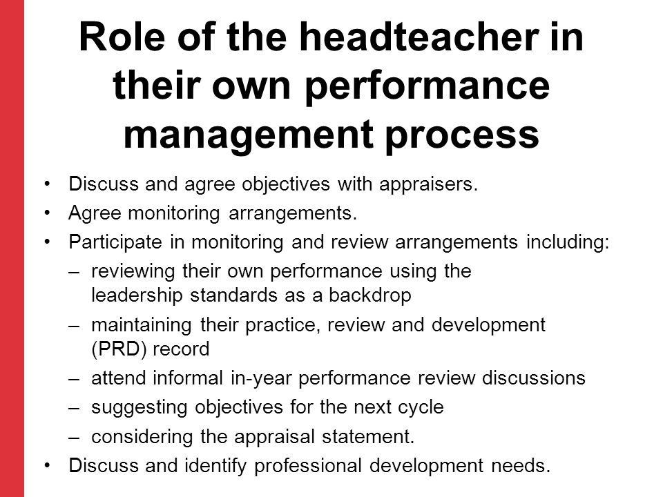 Role of the headteacher in their own performance management process