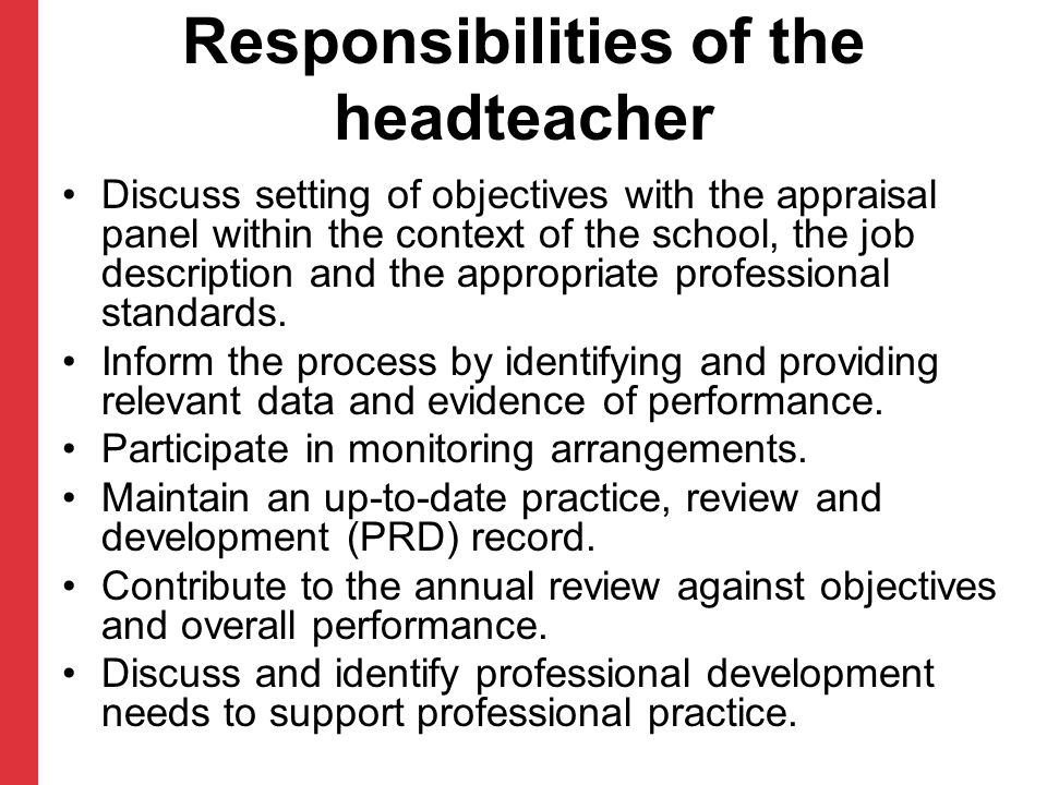 Responsibilities of the headteacher
