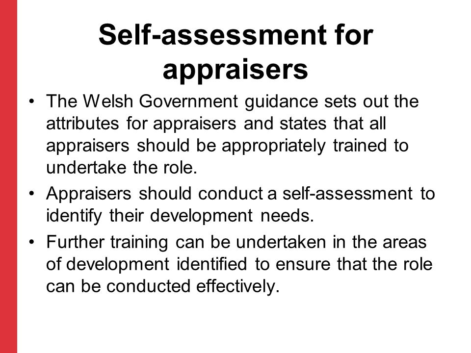 Self-assessment for appraisers