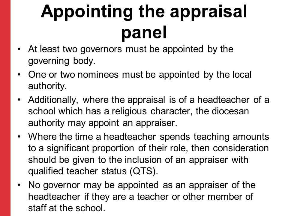 Appointing the appraisal panel