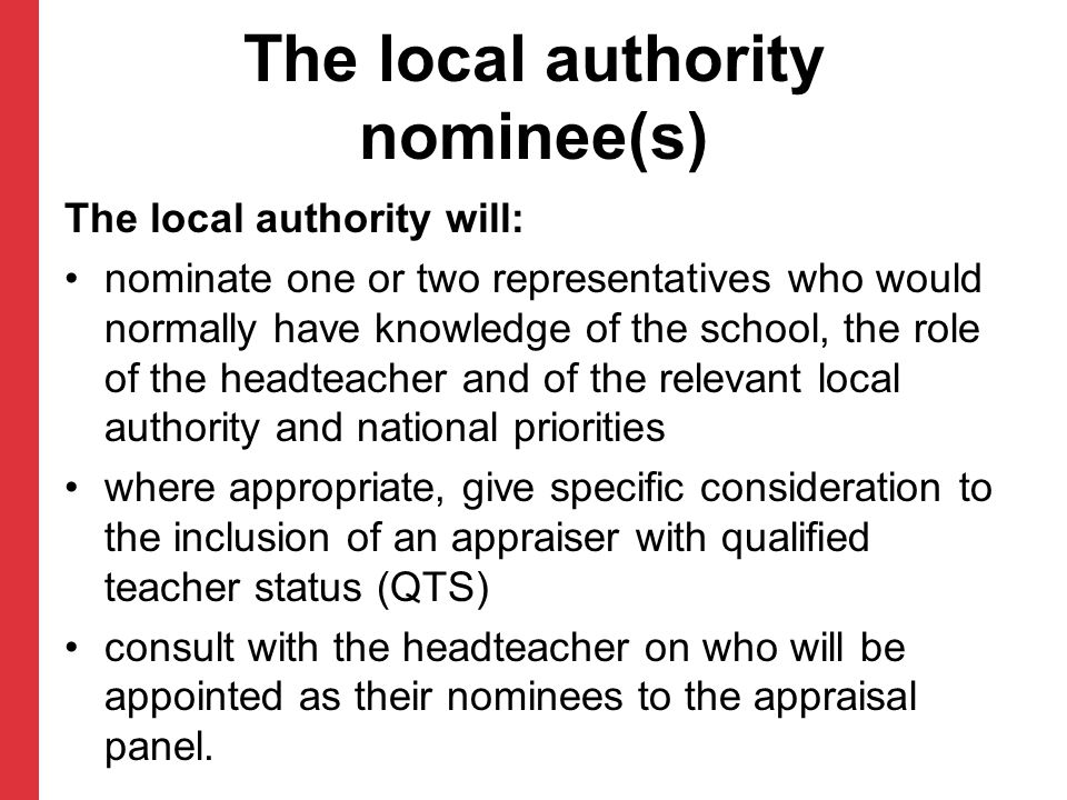 The local authority nominee(s)