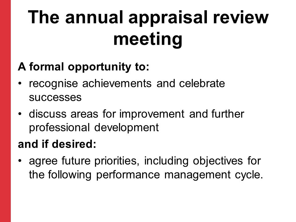 The annual appraisal review meeting
