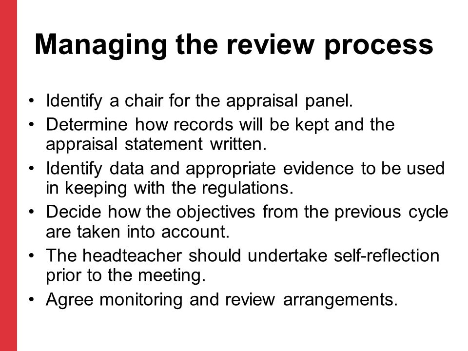 Managing the review process