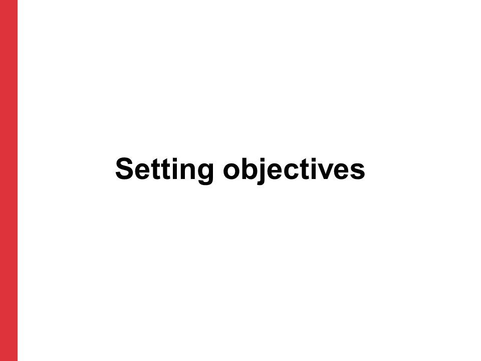 Setting objectives 31