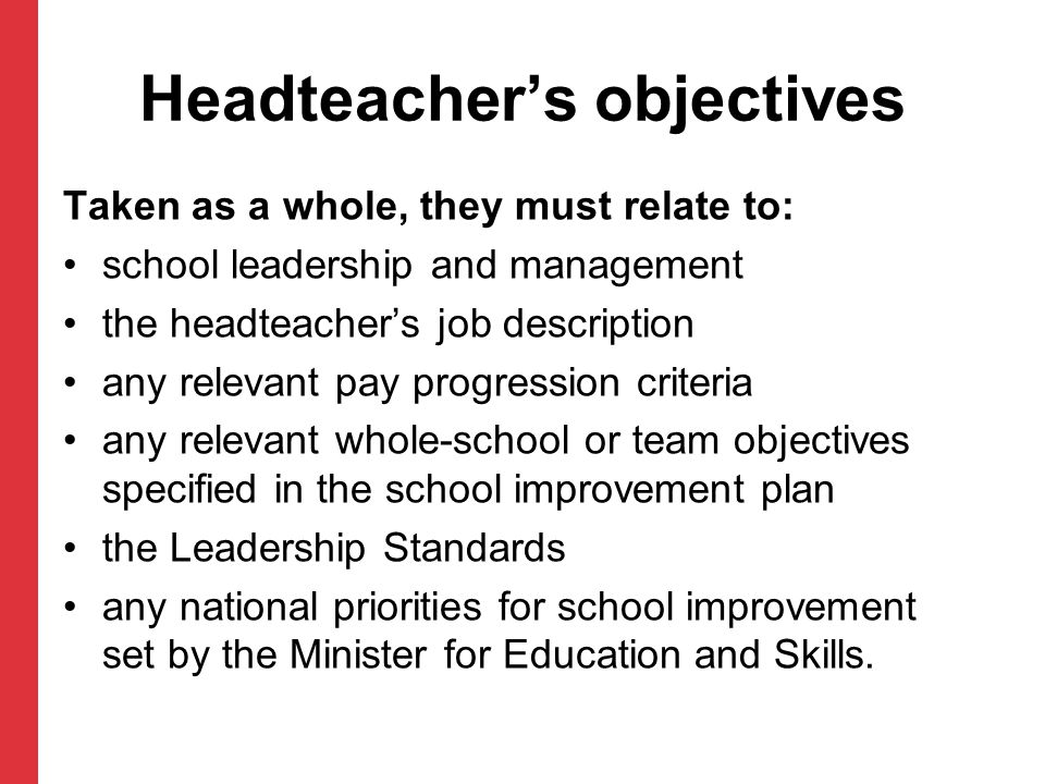 Headteacher's objectives