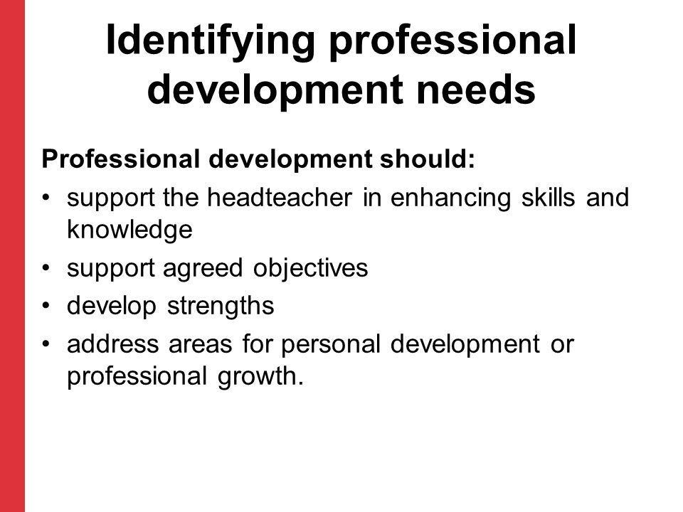 Identifying professional development needs