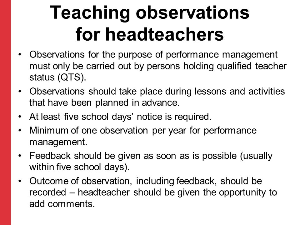 Teaching observations for headteachers