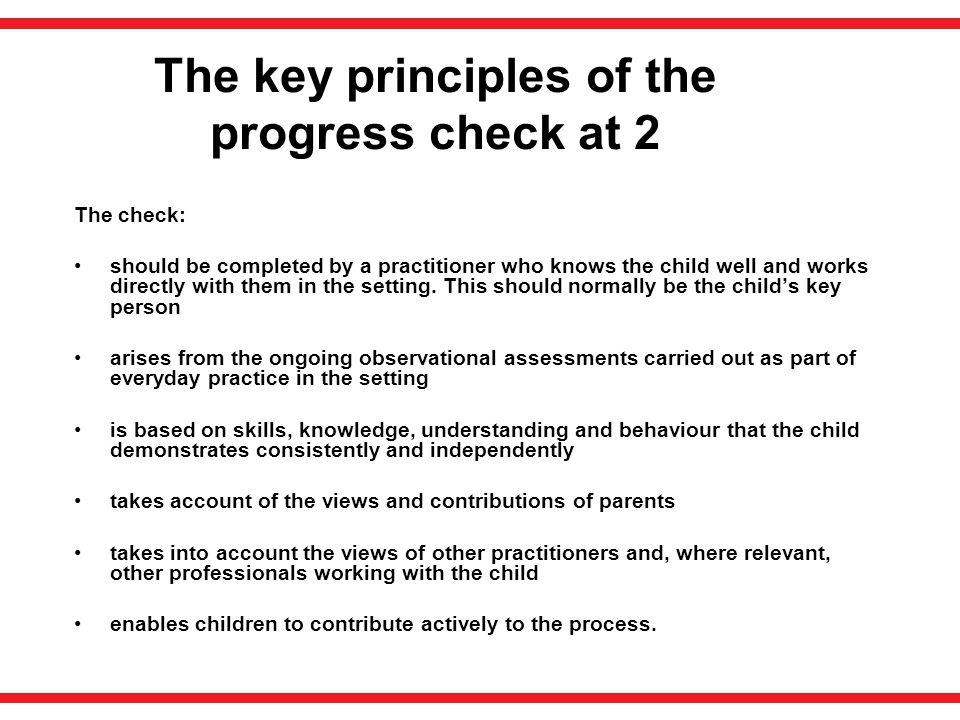 The key principles of the progress check at 2
