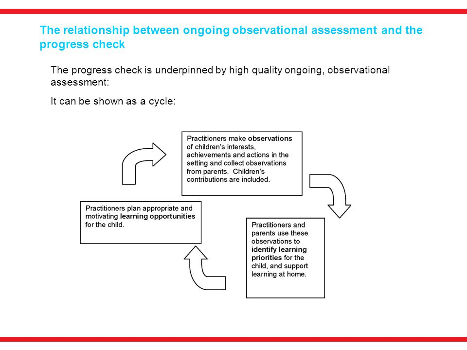The relationship between ongoing observational assessment and the progress check