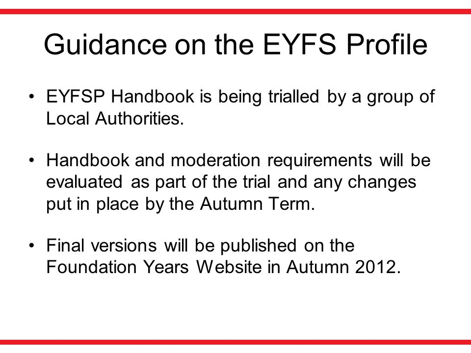Guidance on the EYFS Profile