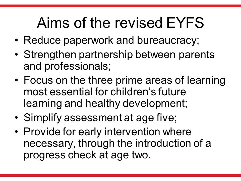 Aims of the revised EYFS