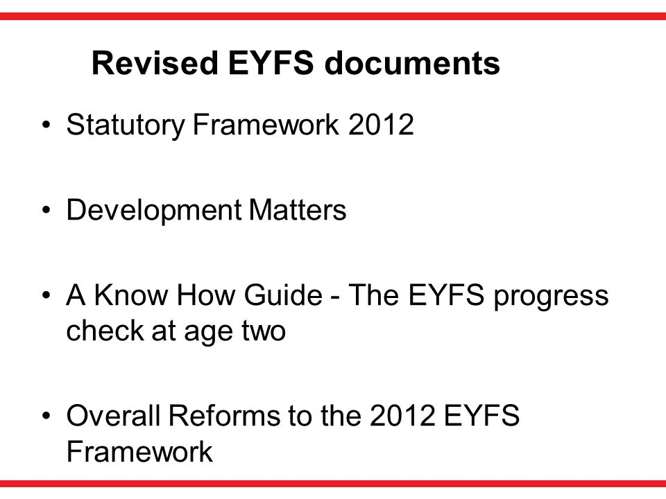 Revised EYFS documents