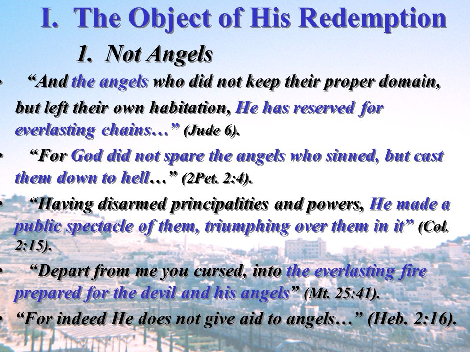 I. The Object of His Redemption 1. Not Angels