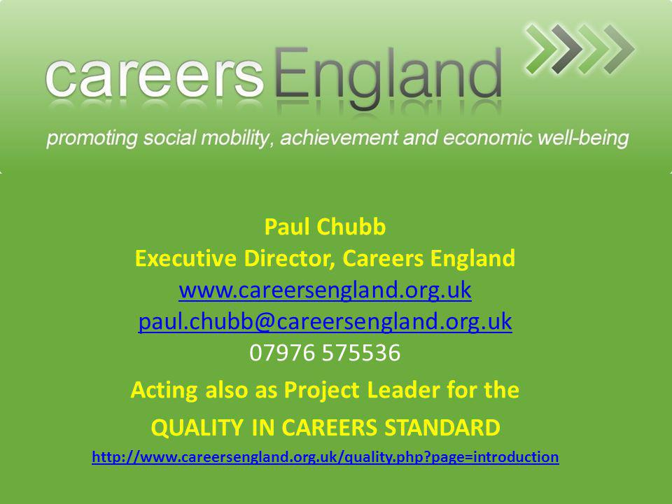 Acting also as Project Leader for the QUALITY IN CAREERS STANDARD
