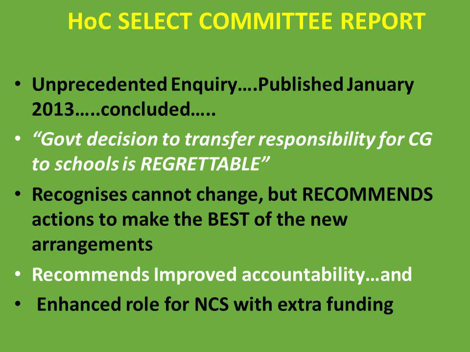 HoC SELECT COMMITTEE REPORT