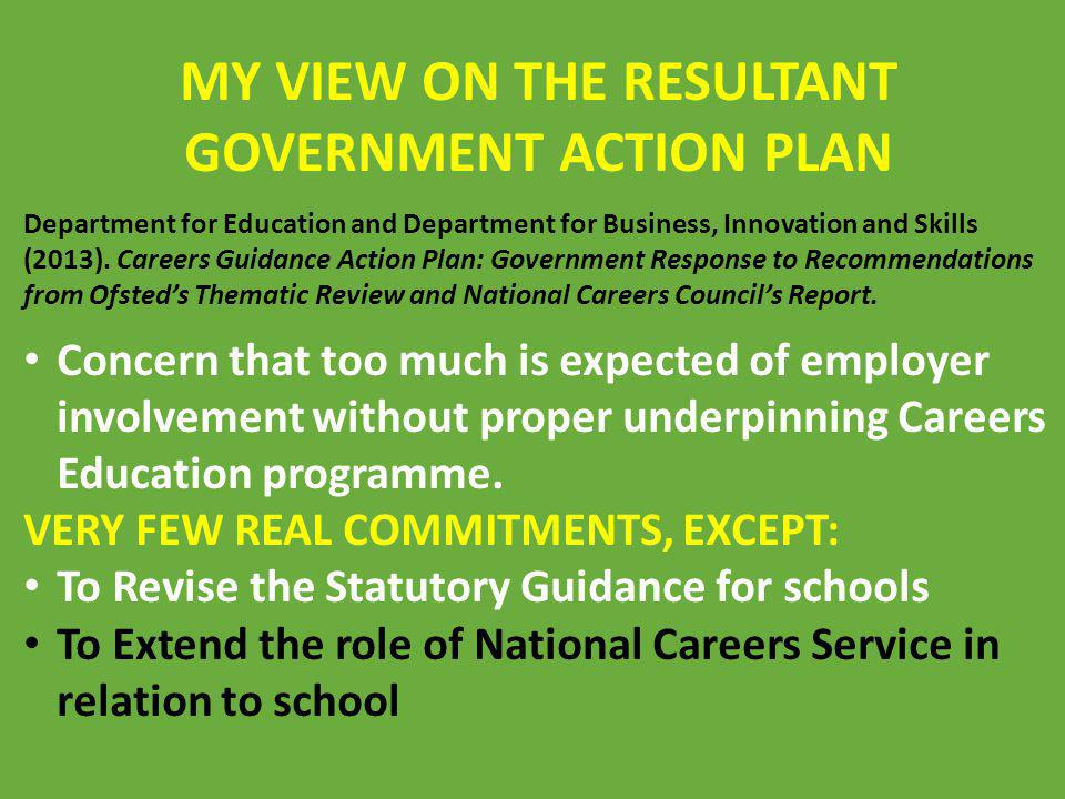 MY VIEW ON THE RESULTANT GOVERNMENT ACTION PLAN