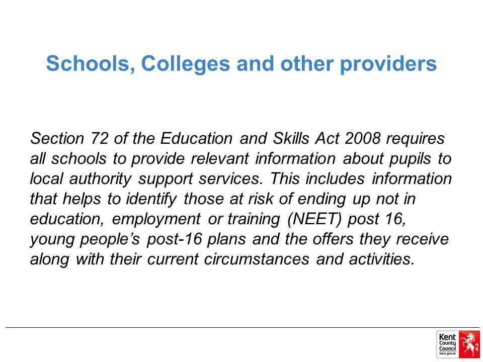Schools, Colleges and other providers