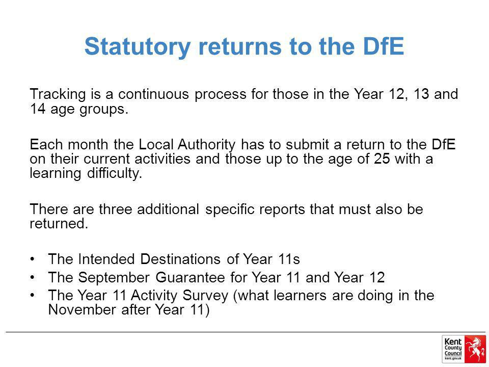 Statutory returns to the DfE