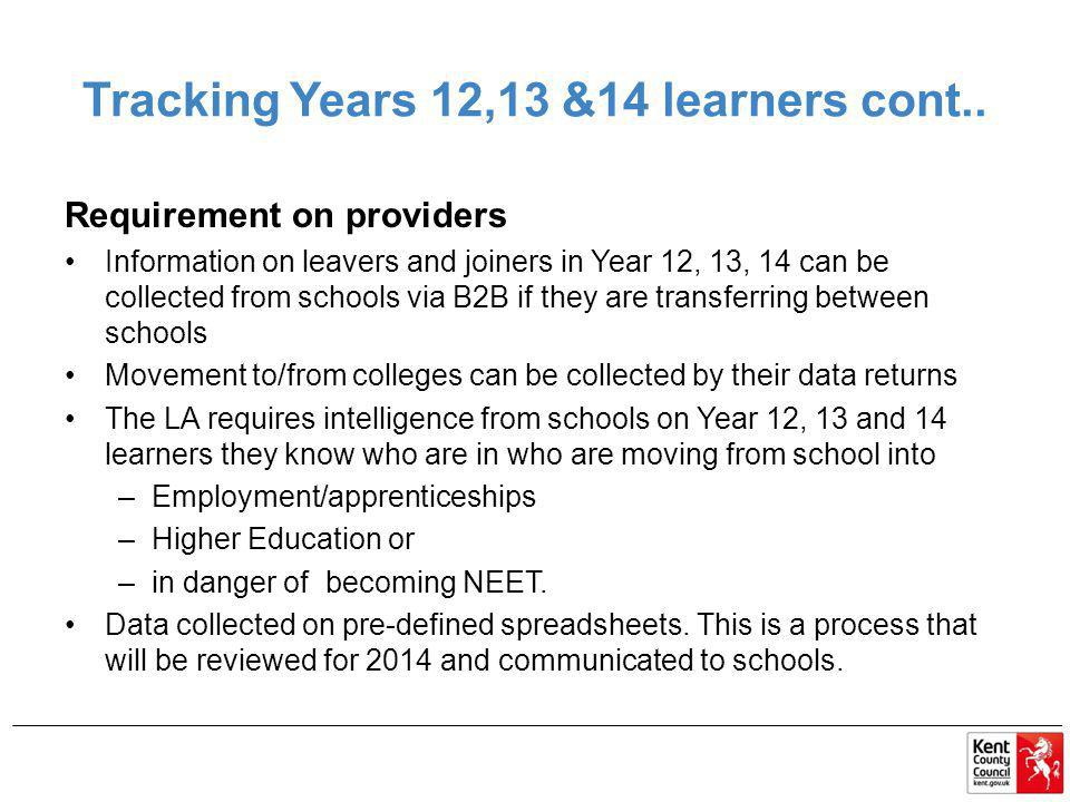 Tracking Years 12,13 &14 learners cont..