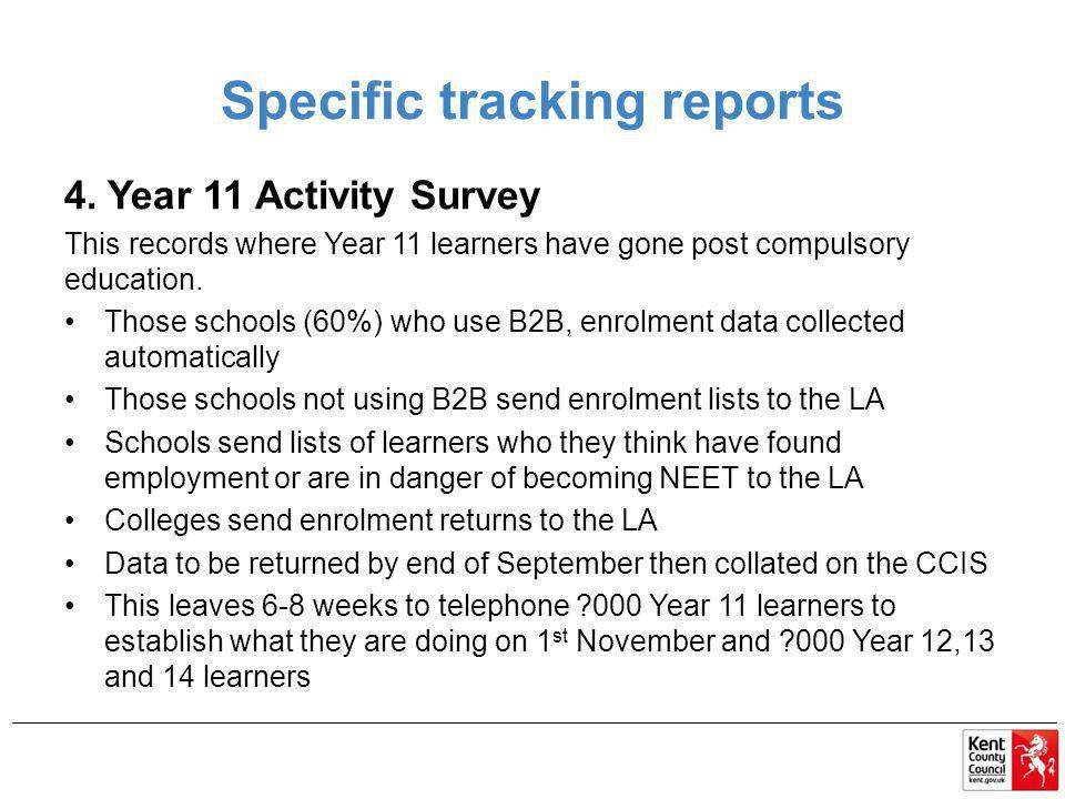 Specific tracking reports