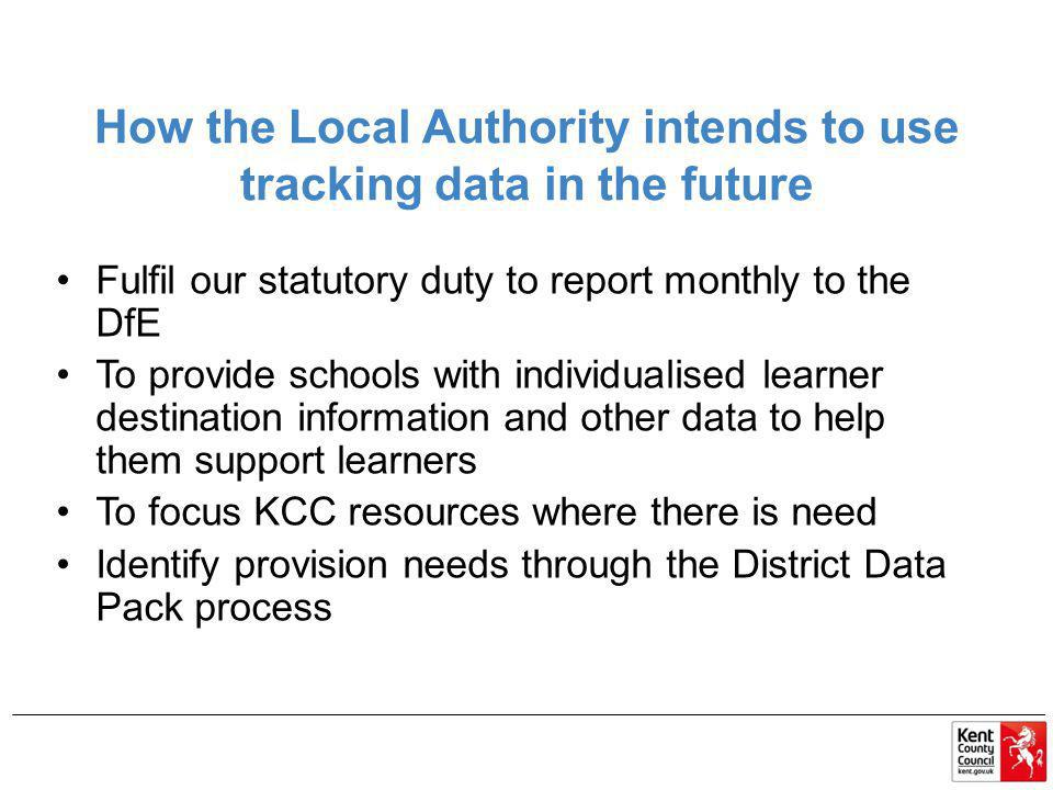 How the Local Authority intends to use tracking data in the future
