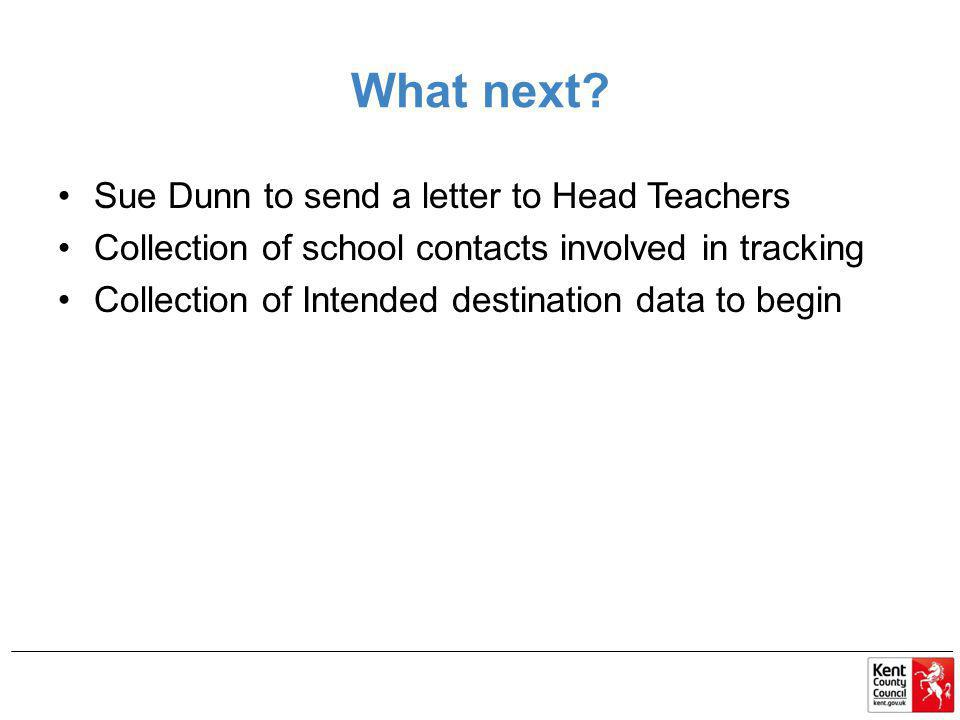 What next Sue Dunn to send a letter to Head Teachers
