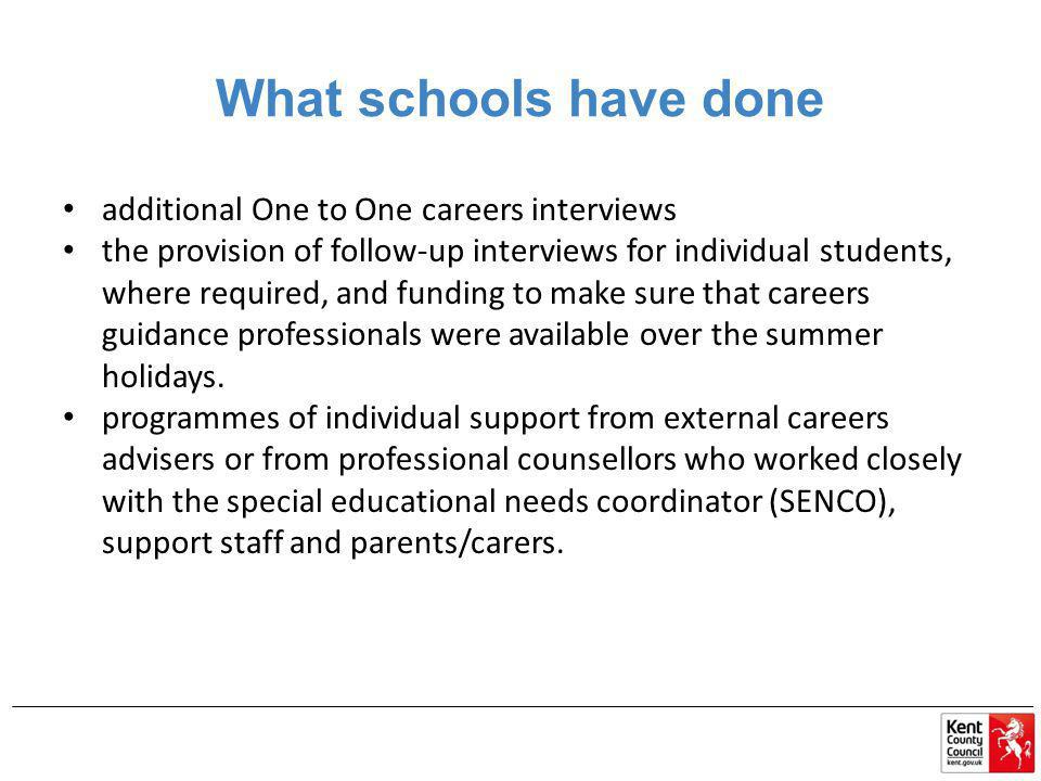 What schools have done additional One to One careers interviews